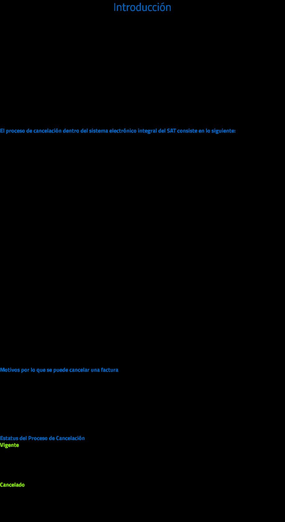 """Introducción Actualmente el proceso de cancelación de CFDI se genera por el emisor de forma automática, lo que provoca el problema de cancelaciones injustificadas o dolosas de facturas o comprobantes ya pagados. Con la reforma al Código Fiscal de la Federación (CFF) para el 2017 se modificó el Artículo 29-A, con el cual se habilita a los contribuyentes receptores del CFDI para que sean informados de dicha cancelación y estén en posibilidad de aceptarla o rechazarla. Para identificar si un CFDI es cancelable, existen tres estatus posibles: No Cancelable Cancelable sin aceptación Cancelable con aceptación No cancelable: son comprobantes que tienen por lo menos un documento relacionado vigente. El proceso de cancelación dentro del sistema electrónico integral del SAT consiste en lo siguiente: El emisor del CFDI envía una solicitud de cancelación al receptor de la factura, conforme al siguiente procedimiento: El emisor ingresa una solicitud de cancelación de un CFDI a traves del """"Servicio de Cancelación de Factura Electrónica"""" en el Portal del SAT. El Buzón Tributario recibirá del """"Servicio de Cancelación de Factura Electrónica"""" los siguientes datos: RFC, Nombre del emisor y folio(s) fiscales de la(s) factura(s) a cancelar y enviará un mensaje de interés al correo electrónico del receptor del CFDI con la siguiente información: * Recibiste una solicitud de cancelación de factura, consulta tu Buzón Tributario. El receptor del CFDI ingresa al Buzón Tributario y procede a abrir la notificación (mensaje) de la solicitud de cancelación recibida, mismo que contendra lo siguiente: a) Mensaje 1 <<Nombre emisor>> solicita la cancelación de la(s) factura(s) con folio(s) <<números de folio>>, cuentas con tres días a partir de la fecha del depósito de este mensaje, para aceptar o rechazar la solicitud de cancelación; en caso de que no envíes una respuesta, la cancelación se aceptará automáticamente. b) Mensaje 2 <<Nombre emisor>> solicita la cancelación de la(s) factura(s) con folio"""